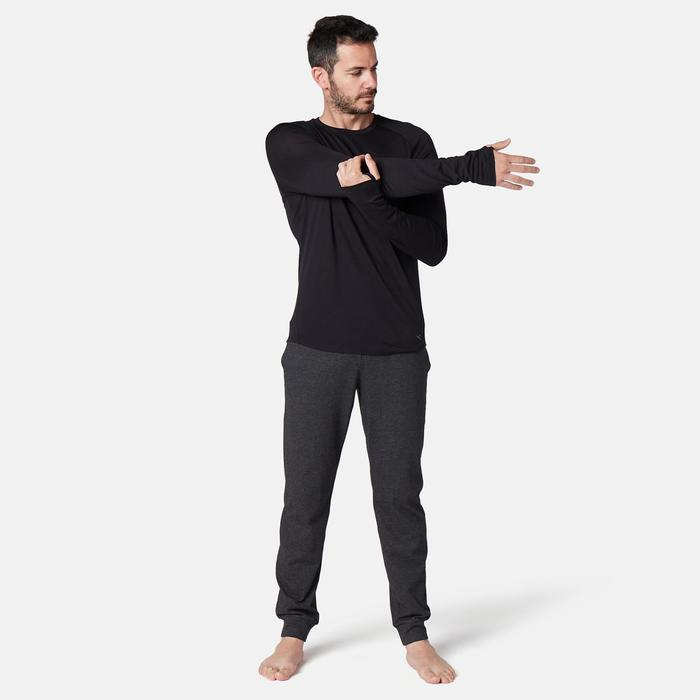 Camiseta Manga Larga Gimnasia Pilates Domyos ML Regular Hombre Negro