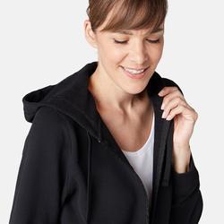 Dames hoodie met rits voor pilates en lichte gym 520 zwart