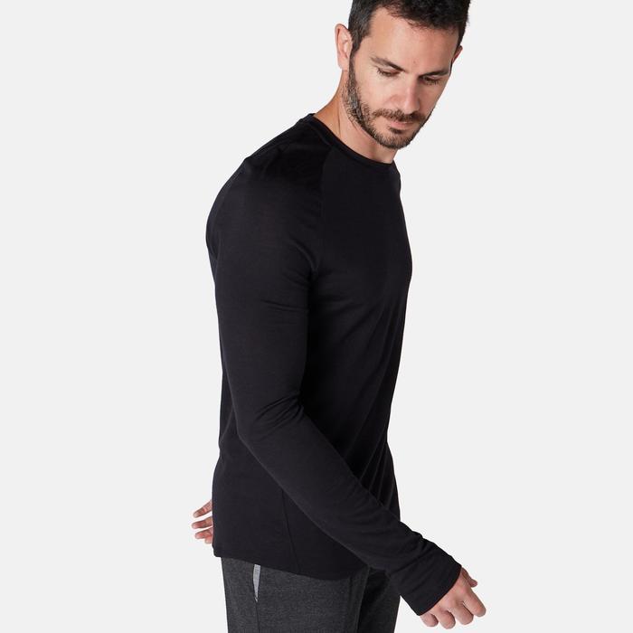 Langarmshirt Merinowolle Regular Pilates sanfte Gymnastik Herren schwarz