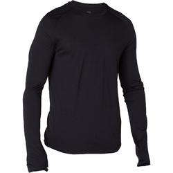 Camiseta 120 lana merina manga larga regular Pilates Gimnasia suave negro hombre