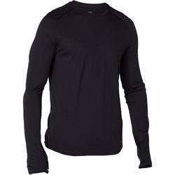 T-shirt 120 met lange mouwen pilates en lichte gym heren merinowol zwart