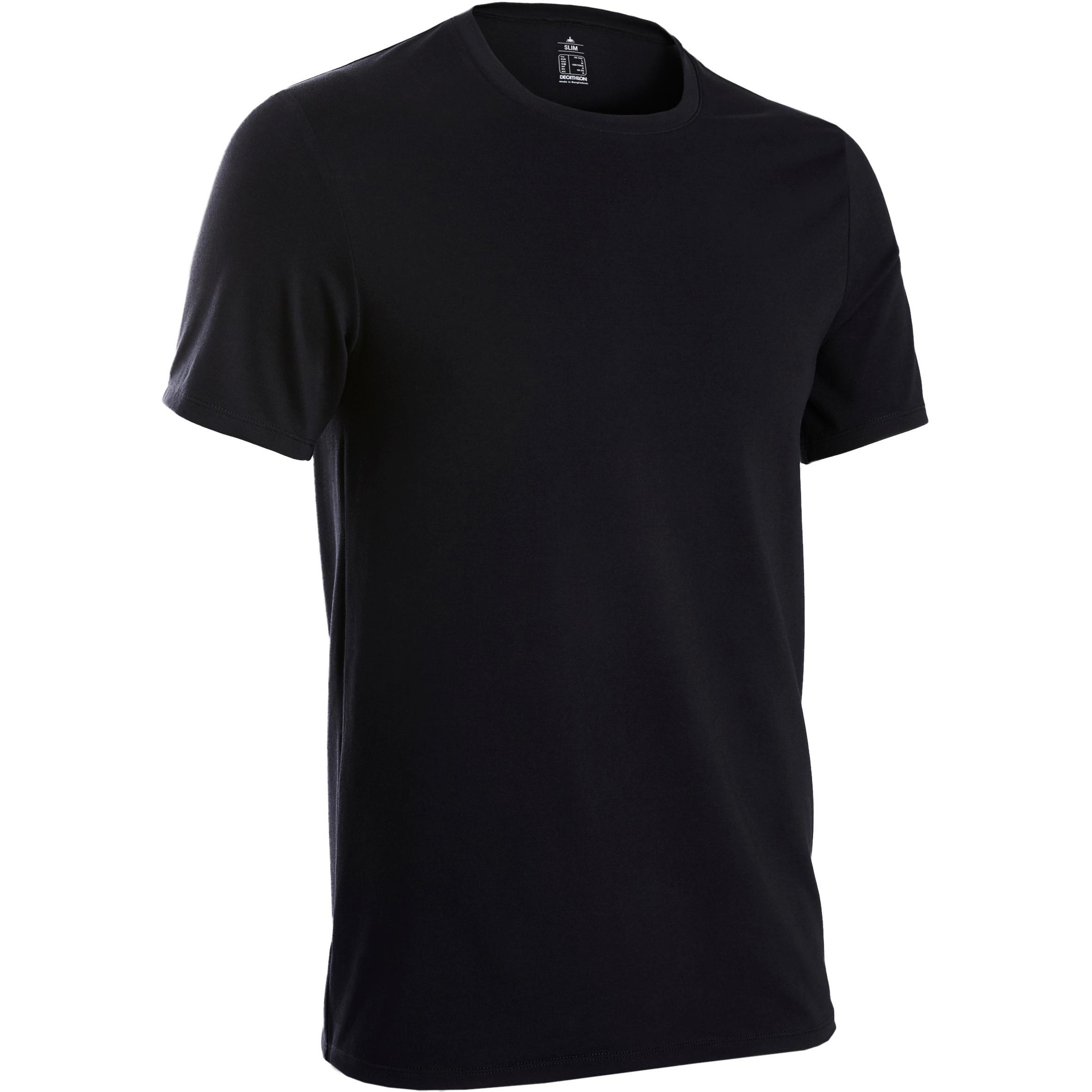 Herren Domyos T-Shirt 500 Slim Pilates sanfte Gymnastik Herren Fitness schwarz | 03608419091779