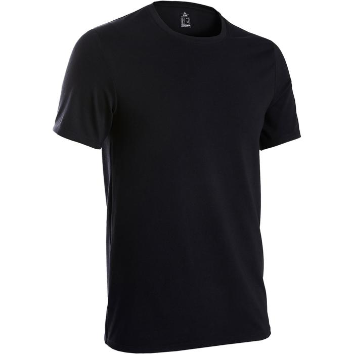 T-Shirt 500 slim Pilates Gym douce noir homme