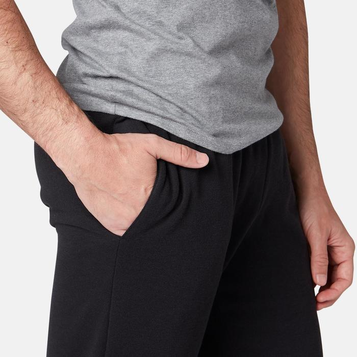 Joggingbroek voor pilates en lichte gym 100 molton regular zwart