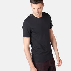 T-Shirt 500 Slim Pilates sanfte Gymnastik Herren Fitness schwarz