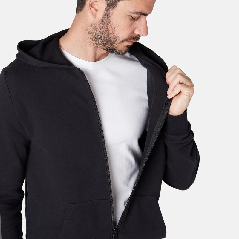 Veste à capuche zippée homme noire