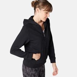 Sweat Zippé capuche chaud Fitness Noir