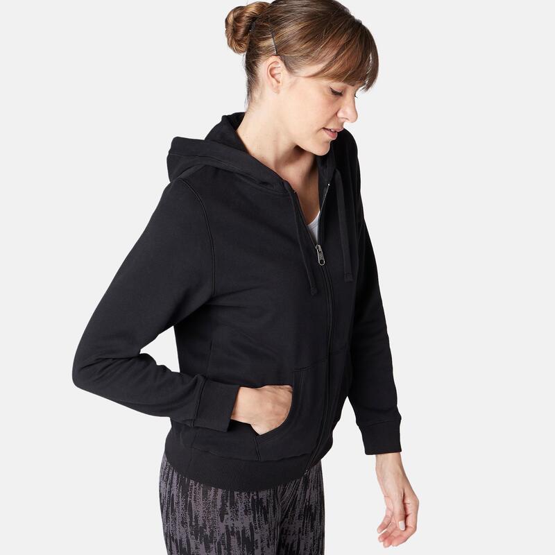 Sweat Zippé capuche chaud Fitness Noir