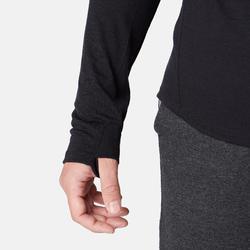 Camiseta lana merina ML regular Pilates Gimnasia suave negro hombre