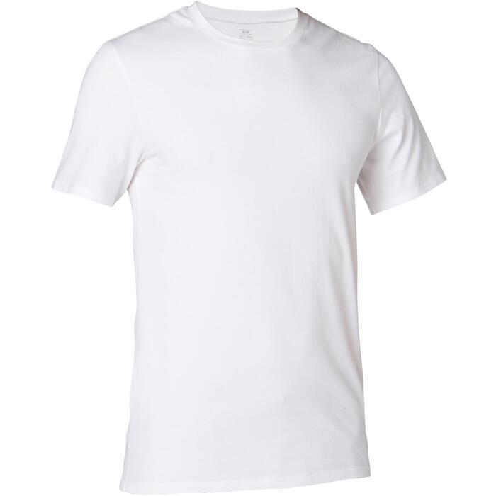 Heren T-shirt voor pilates en lichte gym 500 slim fit wit