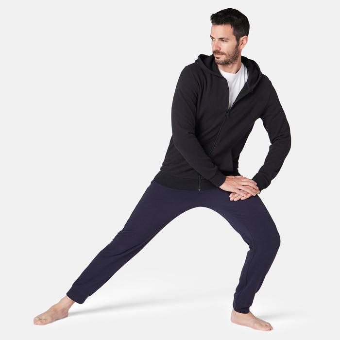 Heren hoodie met rits voor pilates en lichte gym zwart