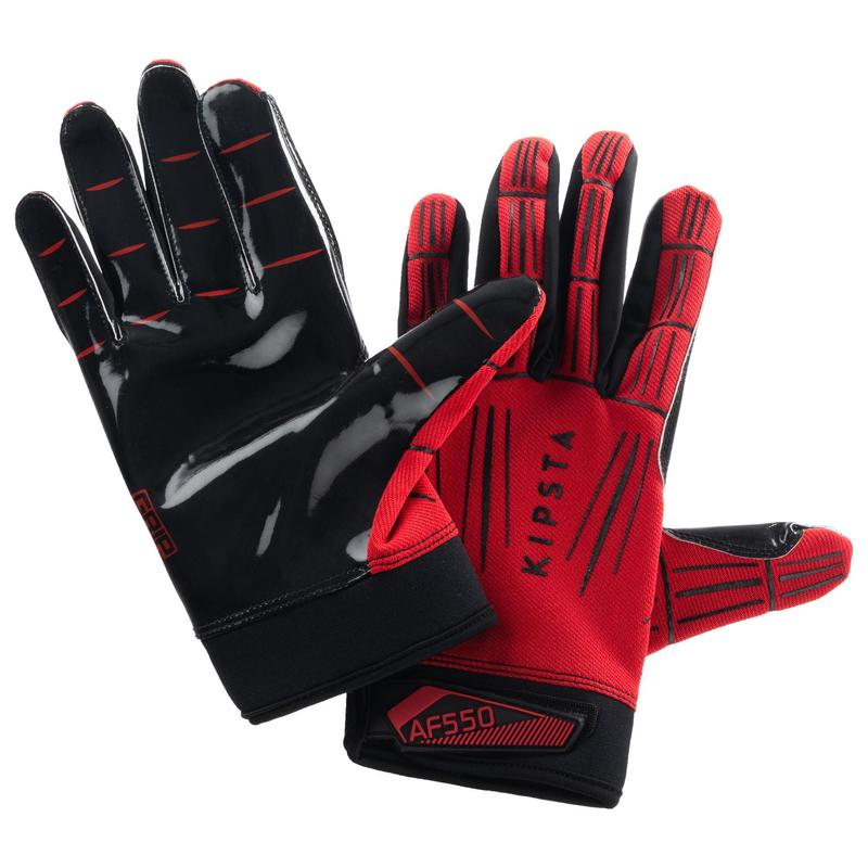 AF550GR Adult American Football Gloves - Red