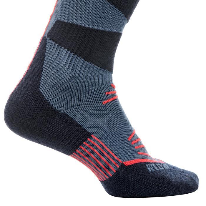 成人滑雪襪500 - 軍藍色紅色