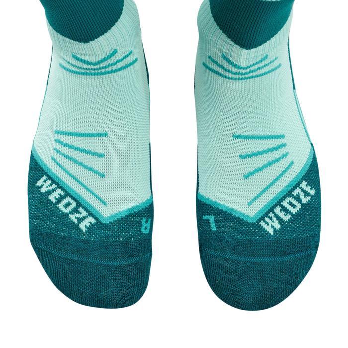 成人滑雪襪500 - 藍色綠色