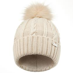 FUR CABLE KNIT SKIING HAT BEIGE