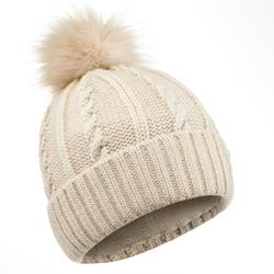 CABLE-KNIT FUR WOOL SKI HAT BEIGE