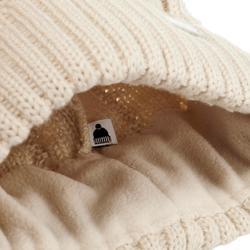 Skimuts in kabelbrei Fur beige