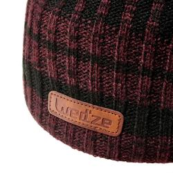 BONNET DE SKI ADULTE RIB NOIR BORDEAUX