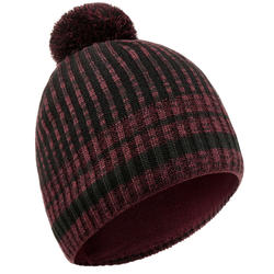 ADULT RIB SKIING HAT BLACK BURGUNDY