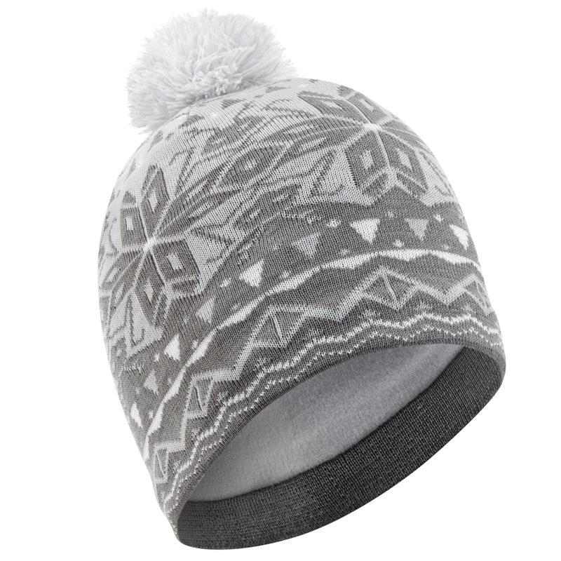 หมวกสกีผ้าแจ็คการ์ดสำหรับผู้ใหญ่ (สีเทา)