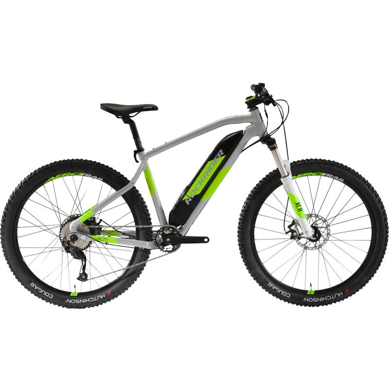 "27.5"" Electric Mountain Bike E-ST500 V2 - Grey/Yellow"