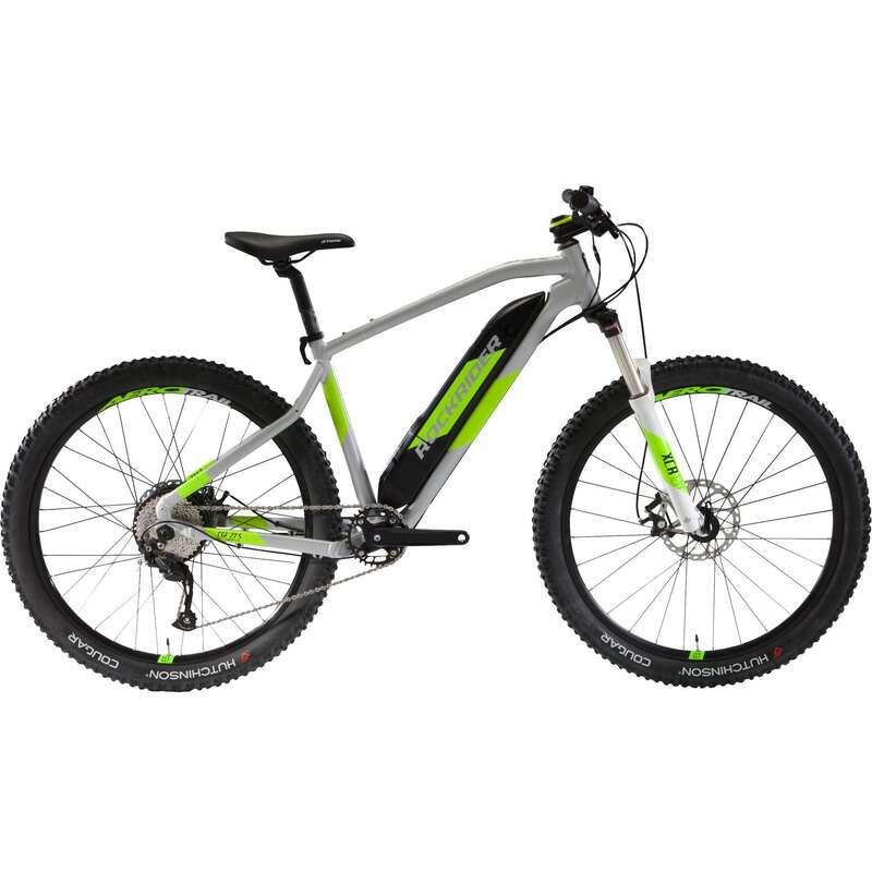 MEN SPORT TRAIL MTB ELECTRIC BIKE Cycling - E-ST500 V2 Electric Mountain Bike, Grey/Yellow - 27.5