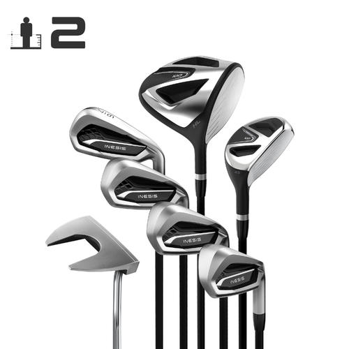 KIT GOLF 7 CLUBS ADULTE 100 DROITIER TAILLE 2 GRAPHITE