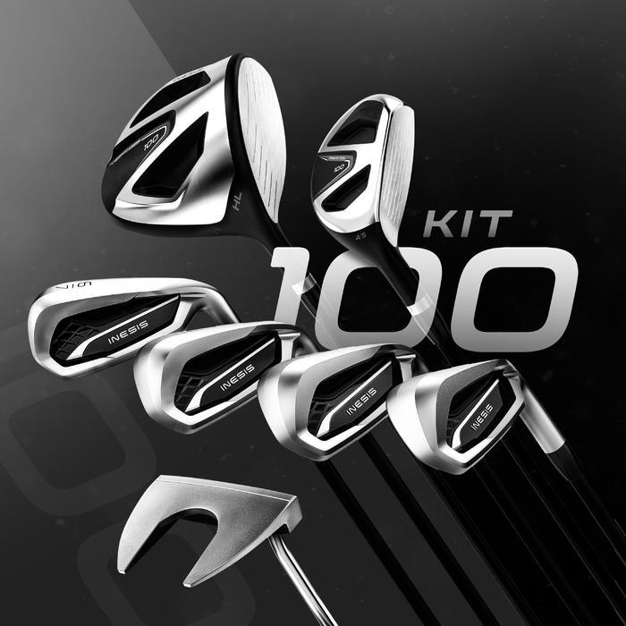 KIT DE GOLF 7 CLUBS ADULTE 100 GAUCHER TAILLE 2 ACIER