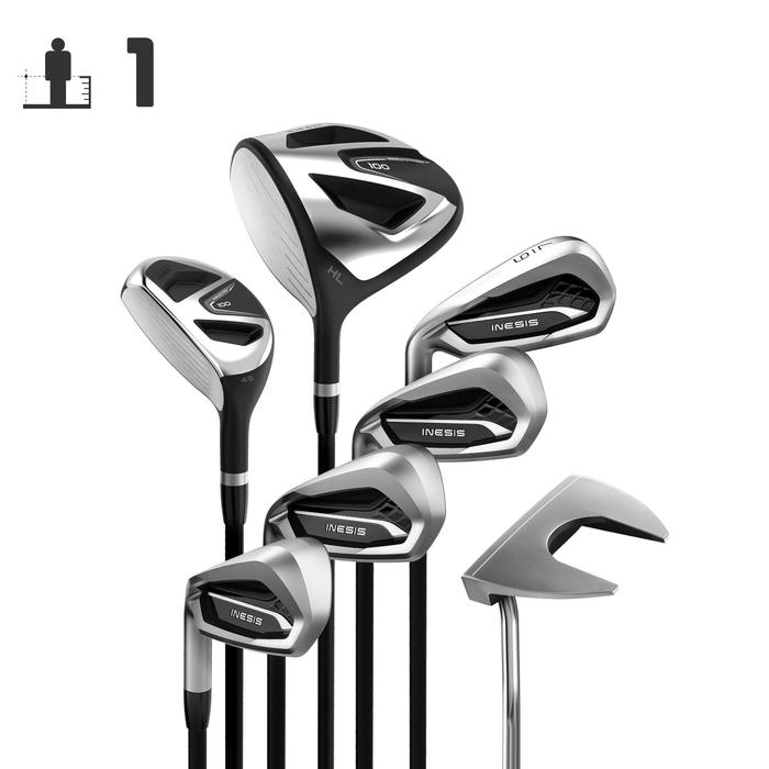 KIT DE GOLF 7 CLUBS ADULTE 100 GAUCHER TAILLE 1 GRAPHITE