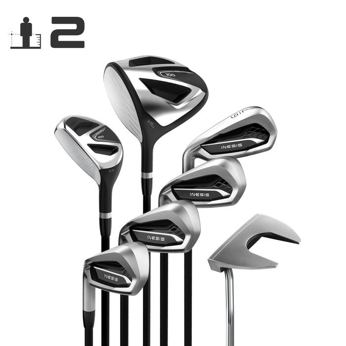 Golfset 100 van 7 clubs voor volwassenen linkshandig maat 2 grafiet