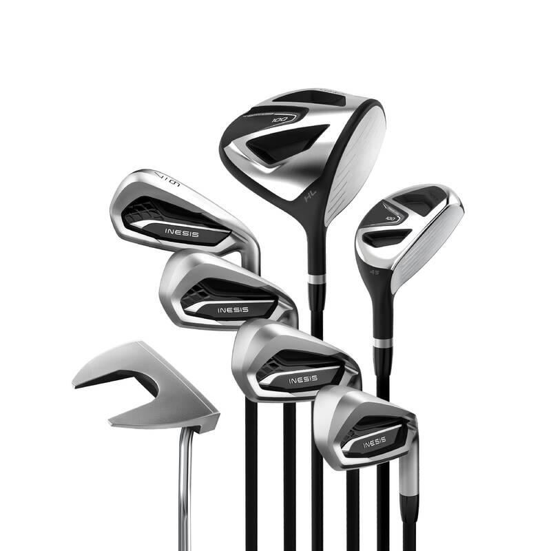 GOLFOVÉ HOLE PRO ZAČÁTEČNÍKY Golf - GOLFOVÝ SET 100 PRO PRAVÁKY V1 INESIS - Golfové hole a sety