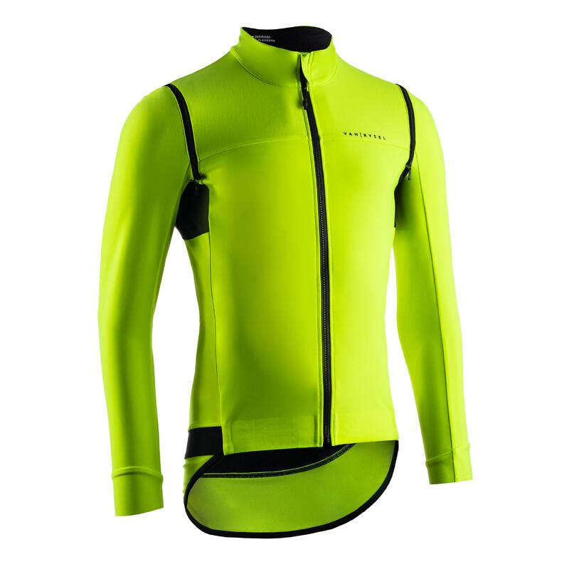 Giacca convertibile impermeabile ciclismo uomo RACER gialla
