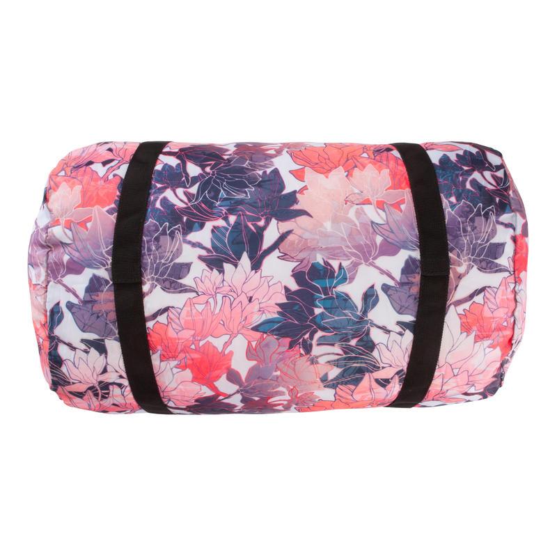Bolso de deporte plegable petate Cardio Fitness Domyos 30 litros rosa floral