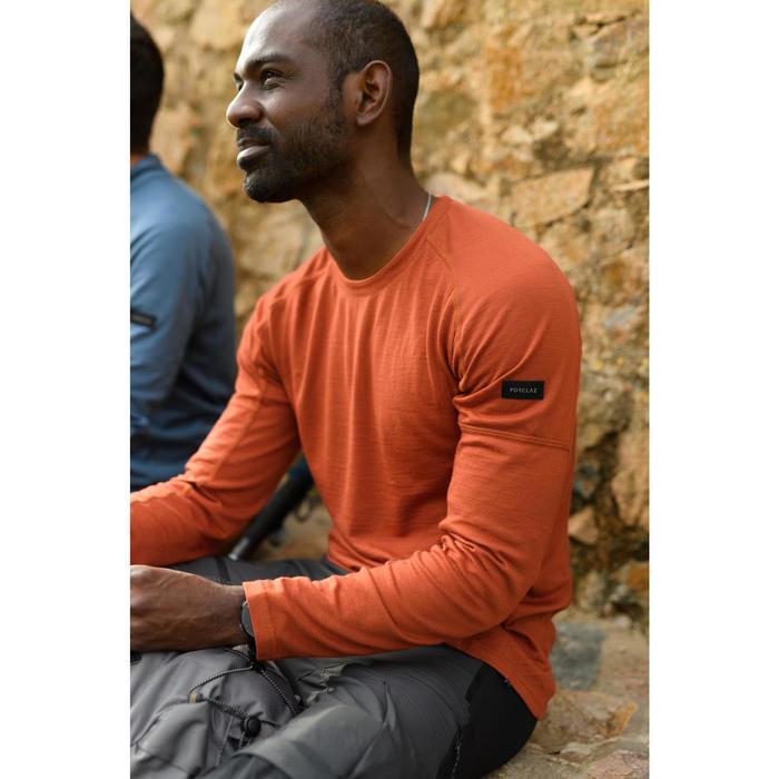 男款登山健行美麗諾長袖T恤-TREK 500-橘色