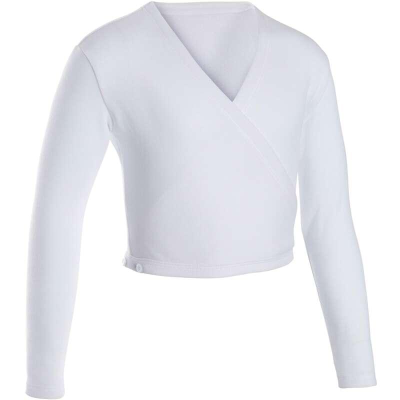BODY-URI, ÎMBRĂCĂMINTE DANS CLASIC FETE Dans, Gimnastica Artistica si Ritmica - Bluză petrecută alb fete DOMYOS - Balet