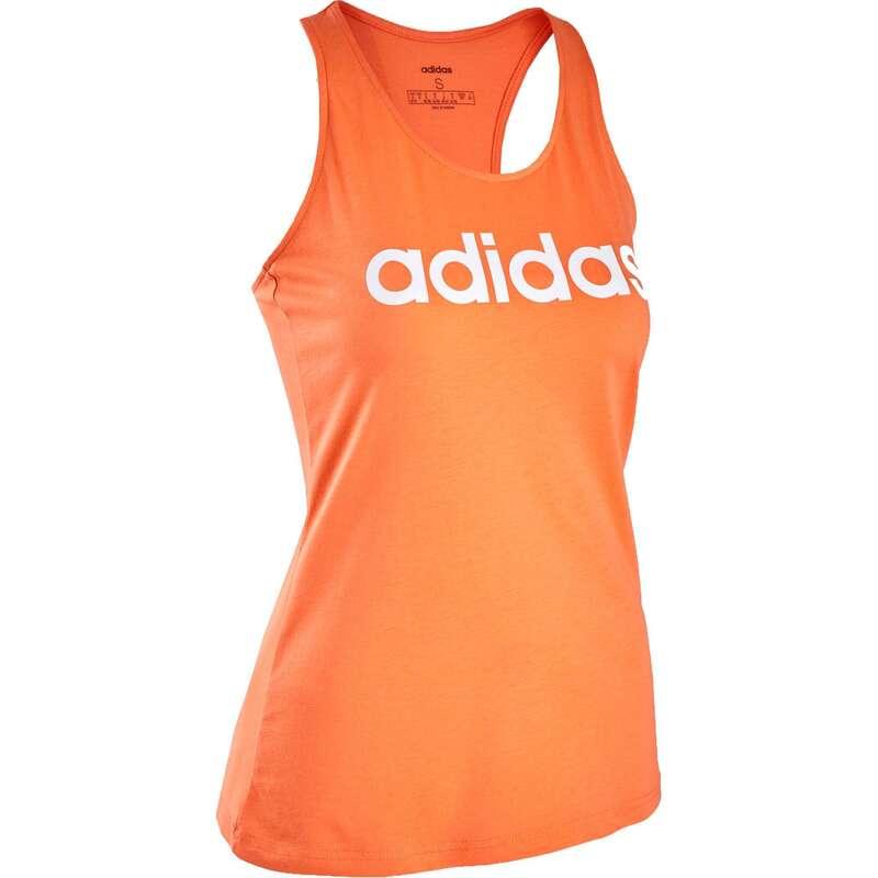 DÁMSKÁ TRIČKA, LEGÍNY, KRAŤASY Cvičení, pilates - Dámské tílko oranžové ADIDAS - Oblečení na cvičení a pilates