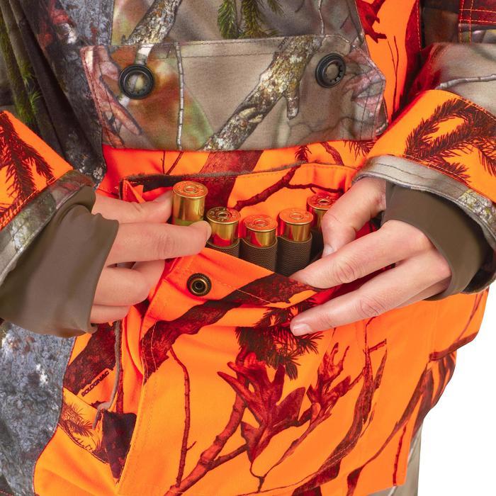 VESTE CHASSE FEMME 3 EN 1 500 CHAUDE IMPERMEABLE CAMOUFLAGE FLUO