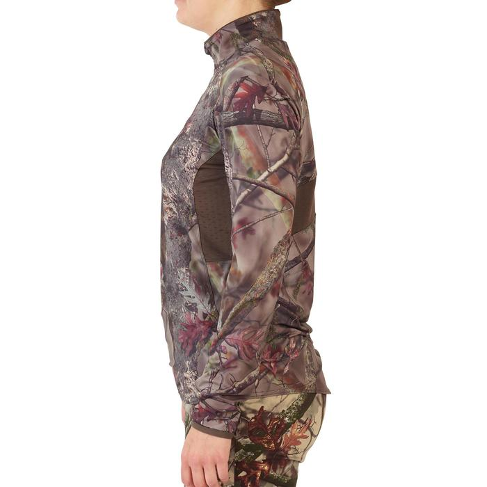 T-SHIRT MANCHES LONGUES CHASSE FEMME 500 SILENCIEUX RESPIRANT CAMOUFLAGE
