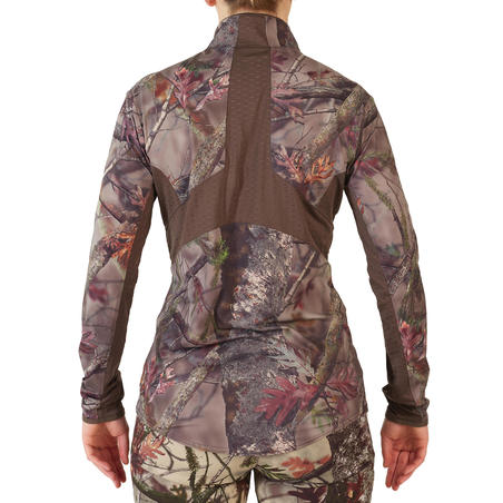 Women's Hunting Silent Breathable Long Sleeve T-Shirt 500 - Woodland Camouflage
