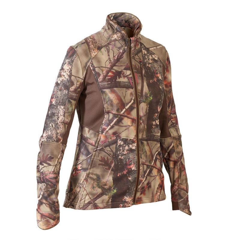Geluidloze ademende camouflagejas voor de jacht dames 500