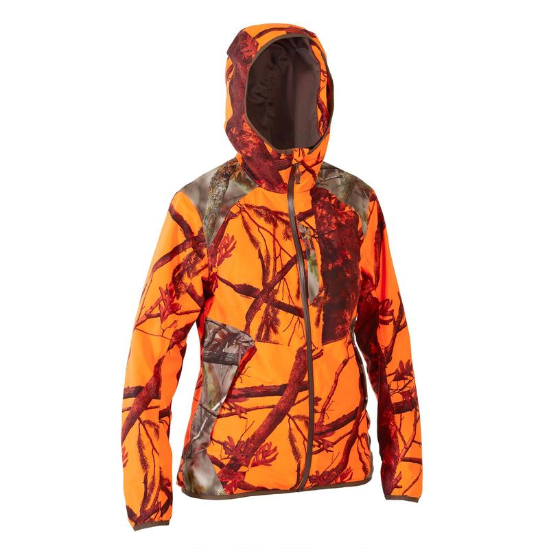 VESTE CHASSE FEMME IMPERMEABLE SILENCIEUSE CAMOUFLAGE FLUO 500