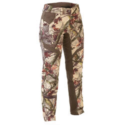Pantalon Caza Solognac 500 Mujer Camuflaje Marron Impermeable Transpirable Silen