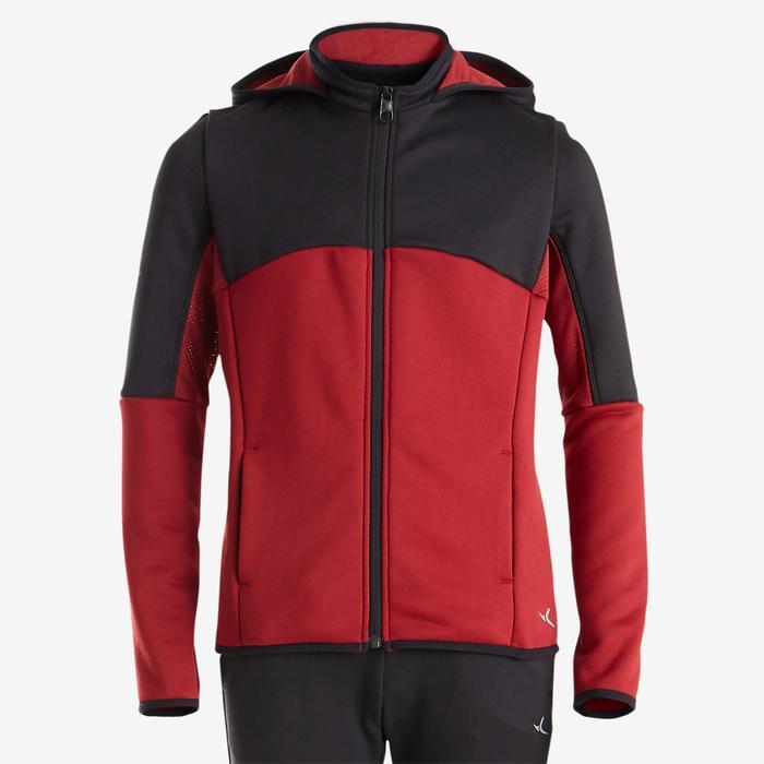 Trainingsanzug warm, Synthetik atmungsaktiv S500 GYM Kinder (m) schwarz/rot