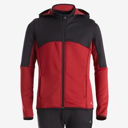 Warm trainingspak voor jongens S500 synthetisch ademend zwart/rood