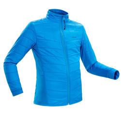 男童款7至15歲超保暖雪地健行混合刷毛衣SH500–藍色