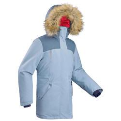Veste chaude de randonnée neige enfant SH500 u-warm fille 7-15 ans bleue marine.