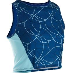 Ademend kort gymtopje voor meisjes S900 blauw AOP