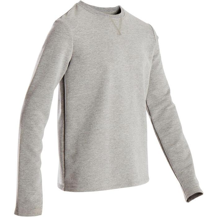 Sweater voor gym jongens 100 lichtgrijs