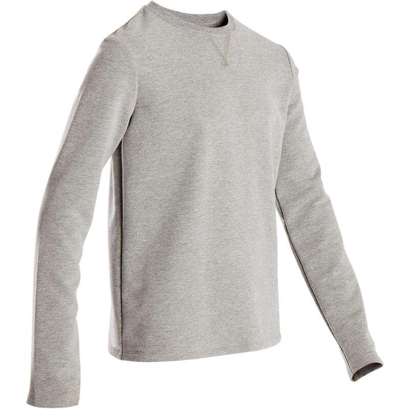 BOY EDUCATIONAL GYM COLD WEATHER APP Fitness and Gym - 100 Boys' Gym Sweatshirt Grey DOMYOS - Gym Activewear