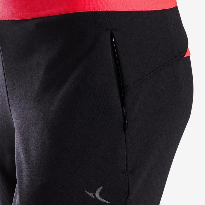 Warme en ademende gymbroek voor meisjes S900 slim fit zwart/rode tailleband